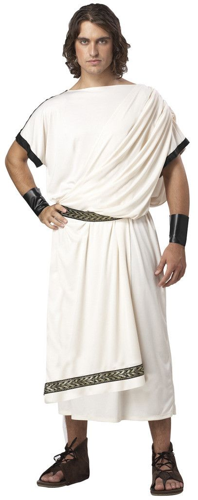 Deluxe Classic Toga (Male) Adult Costume Includes: Tunic, Belt, Wrist Cuffs. Does not include shoes. Weight (lbs) 1.22 Length (inches) 15 Width (inches) 12.5 Height(inches) 2