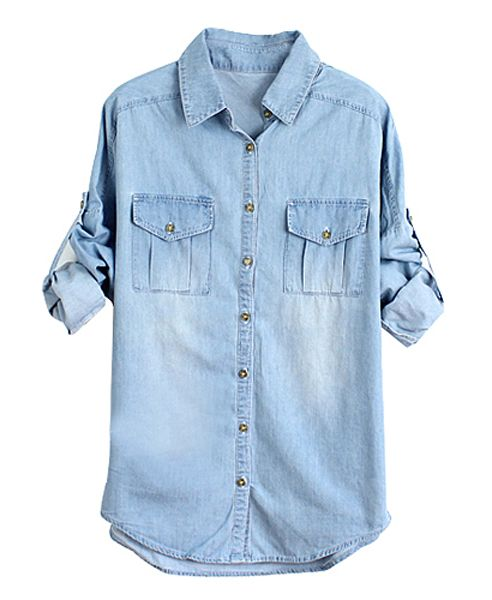 The details include: a breathable washed denim, classic point collar, classic buttoned placket, chest flap pockets, curved hem and buttoned batwing sleeves. It comes in a regular fit.