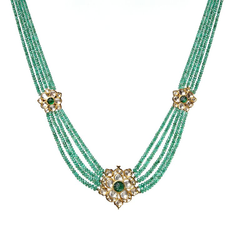 18k Gold necklace with 5 emerald strands featuring rose cut diamond floral…