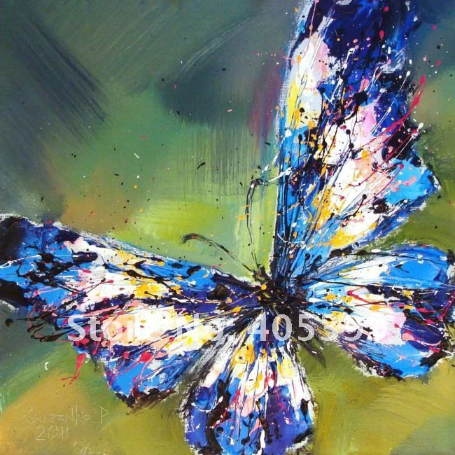 Free Shipping !!! Drop Ship Gallery Quality ,  Wall Art Butterfly Oil  Painting On Canvas JYJB016 US $72.00