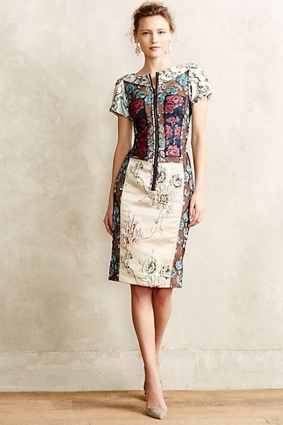 This is one of those dresses I think I would look at and admire - but never actually wear. It is gorgeous - I love the fabrics! Pieced Brocade Dress #anthropologie