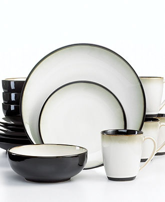 Sango Dinnerware, Nova Black 16 Piece Set - Casual Dinnerware - Dining & Entertaining - Macy's