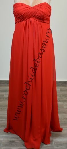 Rochie de seara rosie, incretita in talie #rochiideseararosii #rochiidesearafaraaplicatii #redeveningdresses