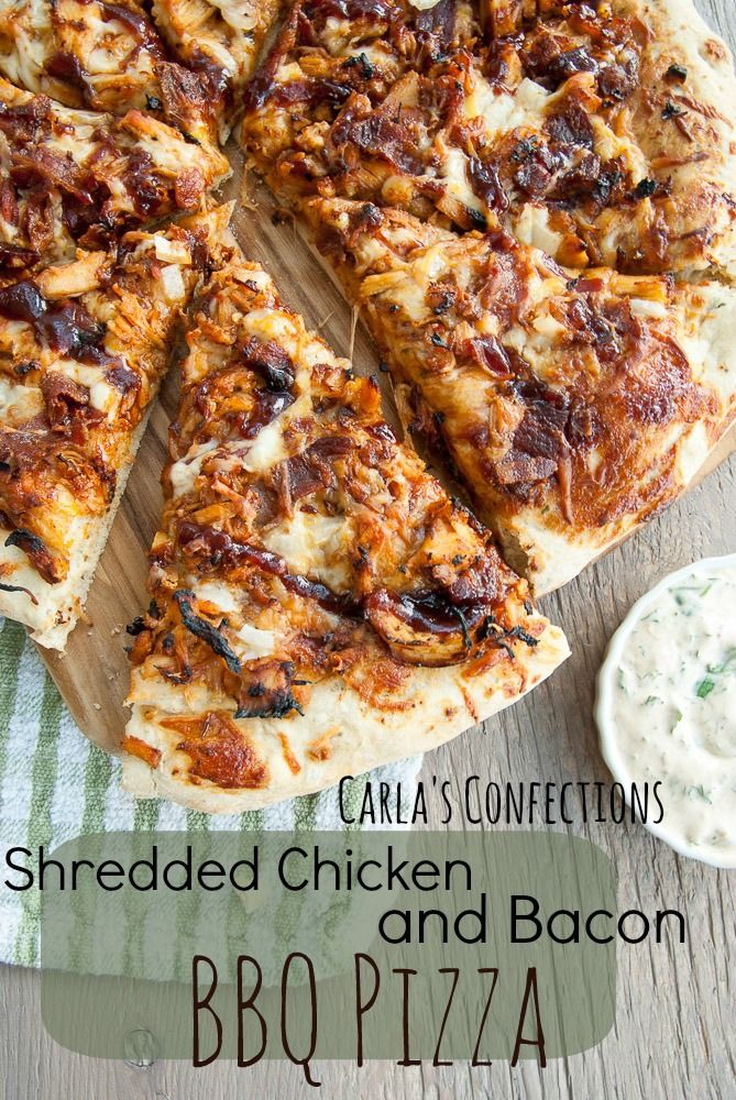 Shredded Chicken and Bacon BBQ Pizza FoodBlogs.com