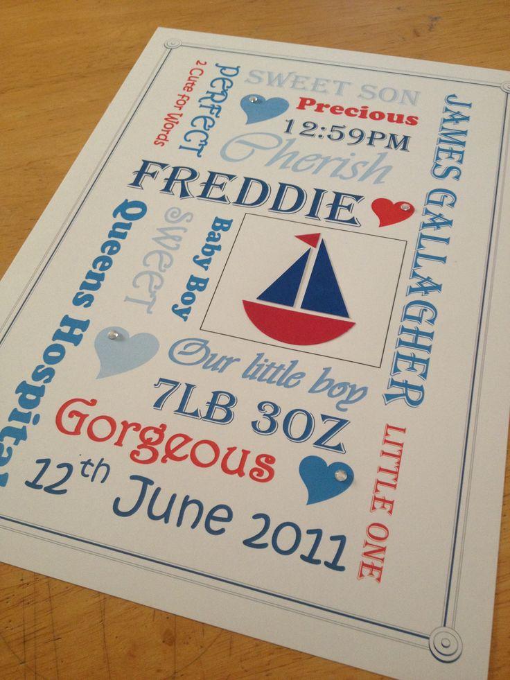 Nautical theme personalised baby print Www.facebook.com/be4utifullyunique