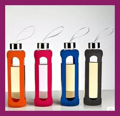 New 550CC Drinkware Sport Glass Water Bottle With Silicone Insulation Creative Kettle Botella Agua Cristal Hot Sale