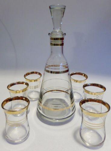 Vintage-Midcentury-Gold-Striped-Glass-Bar-Set-Decanter-Bottle-6-Shot-Glasses