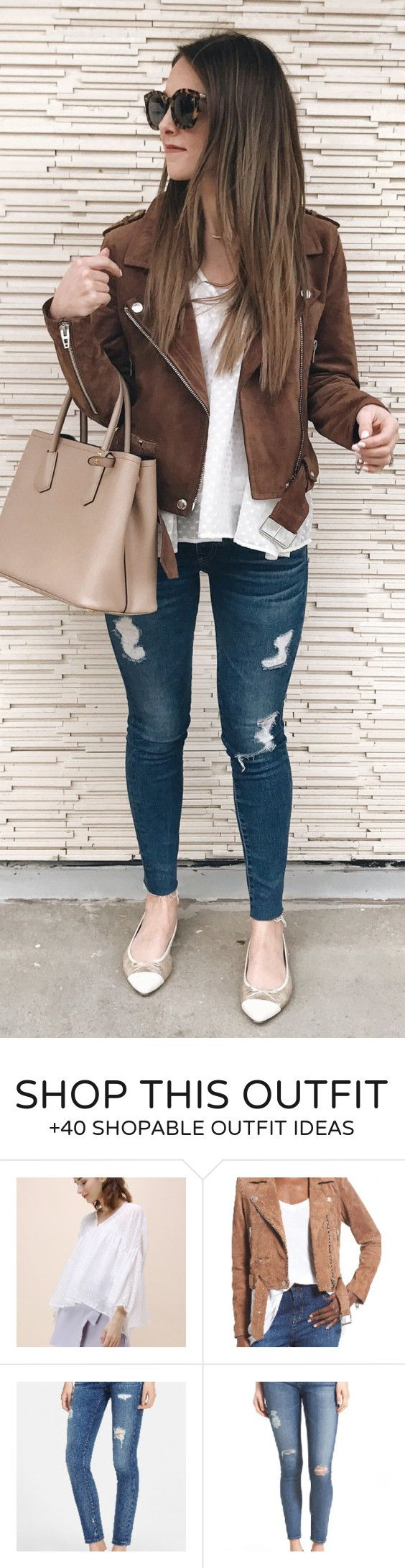 lovely spring outfits / Brown Suede Jacket / White Tee / Ripped Skinny Jeans / Brown Leather Tote Bag