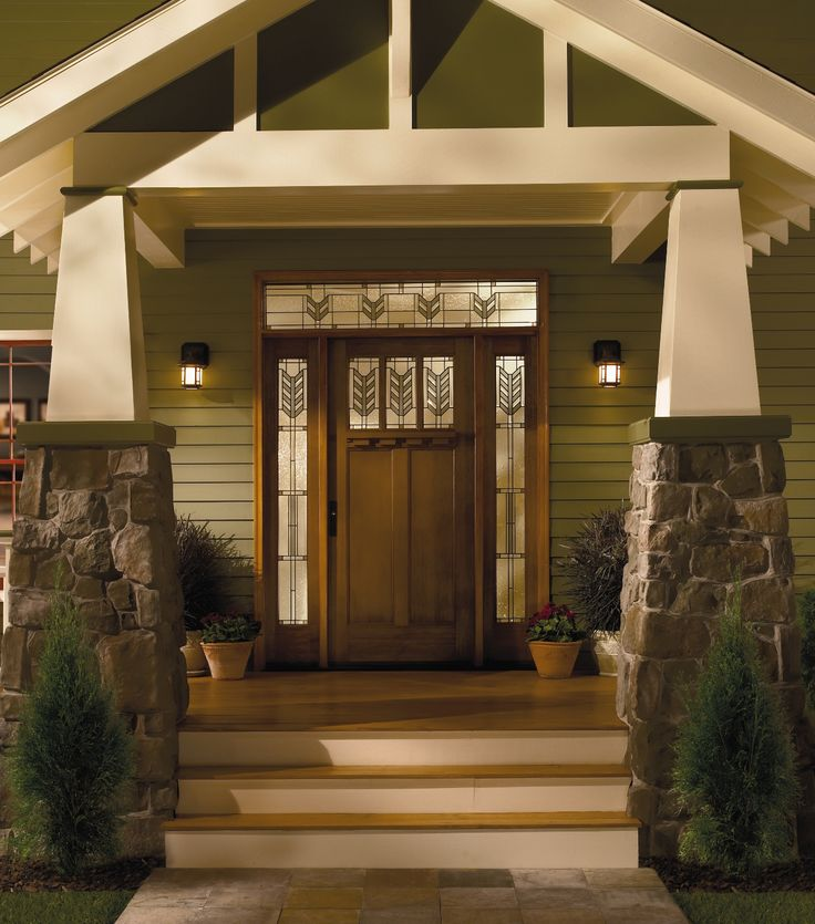 Front doors with side lights and transom fiberglass door for Side entry door