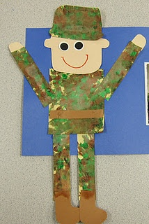 Soldier kid craft - such a cute craft for Jacob to send to Uncle Josh @Michele Morales Santosuosso