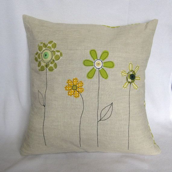 "Cushion cover, yellow and green spring flowers: Decorative cushion, free motion embroidery, linen, 16"" / 40cm."