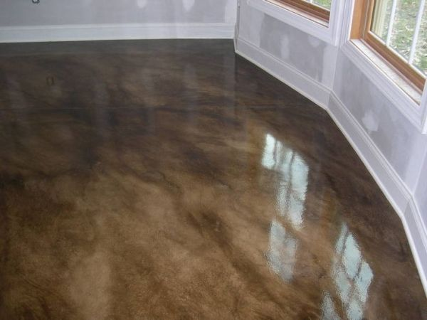 Painted concrete floor for the unfinished basement by for Unfinished basement floor ideas