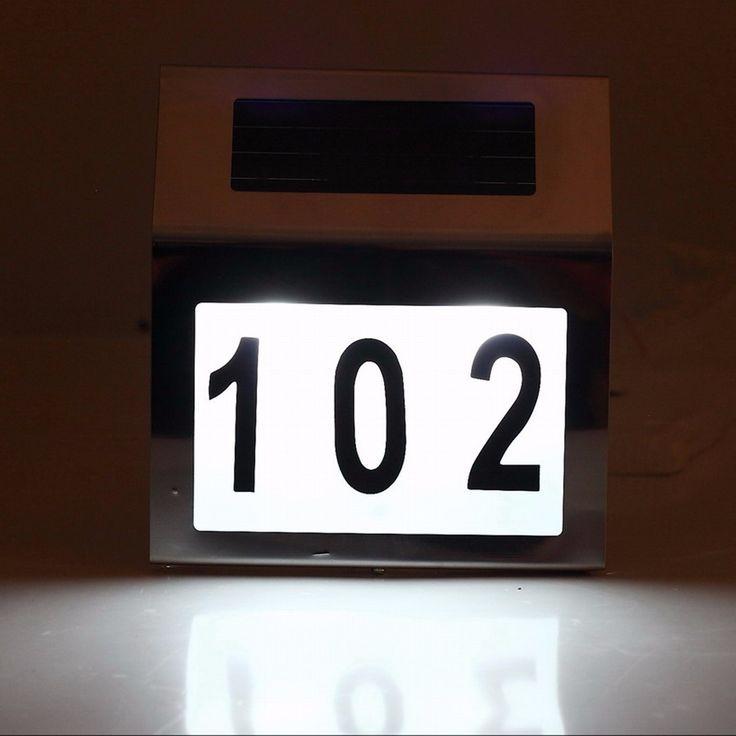 Marvelous Solar Powered LED Beleuchtete Haust r Anzahl Licht Wand Plaketten Edelstahl Lampe