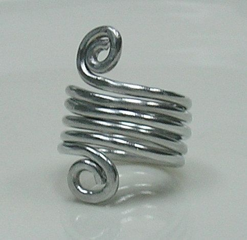 Silver tone handmade wire ring by uniquejazzyjewelry on Etsy, $22.00
