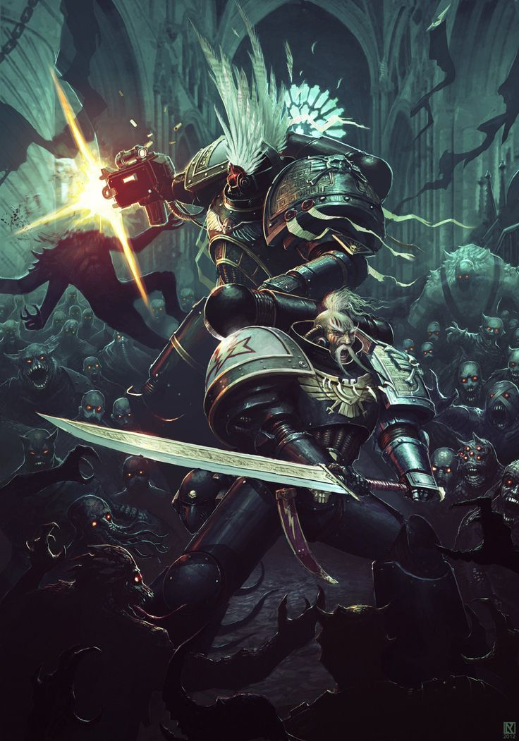 bolt pistol, chaos, daemon, deathwatch, imperium, nicholaskay, space marines, sword, white scars