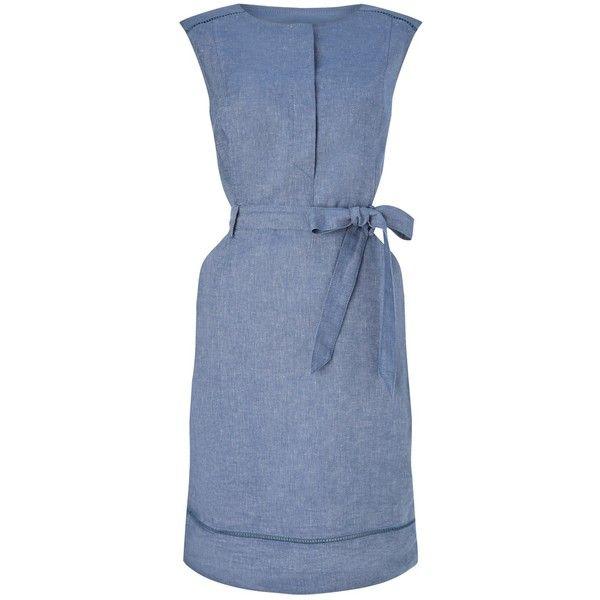 Precis Petite Shirt Dress, Blue ($67) ❤ liked on Polyvore featuring dresses, petite, midi dress, long-sleeve mini dress, sleeveless shift dress, blue shirt dress and mini dress