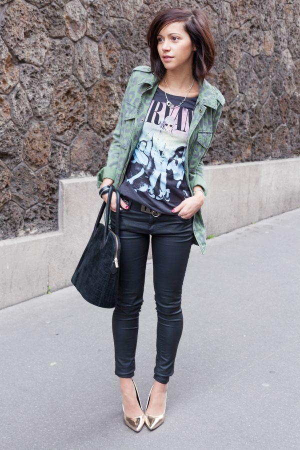 Coated skinnies, patterned jacket, graphic tee and metallic  heels