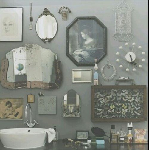 Retro Bathroom Idea With Grey Wall Paint Plus Completed Unique Ornament Accessories Of Antique Mirror And Classic Picture Frame Ideas