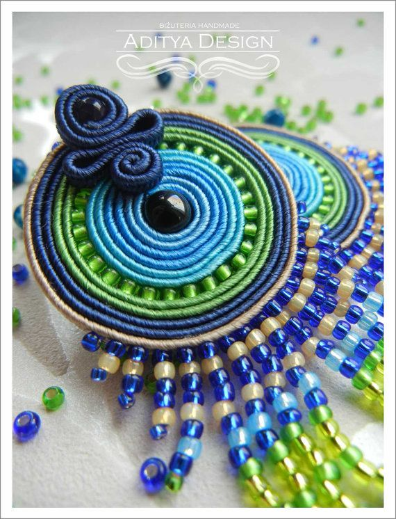 Soutache Earrings Blue Green Multicolor Earrings by AdityaDesign