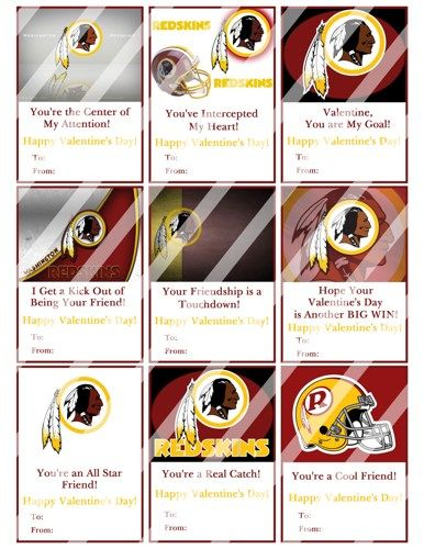 Washington Redskins Printable Digital Valentines Day Cards #2