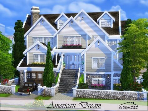 American Dream Is A Huge Suburban Family Home Built On 30x30 Lot In Newcrest Found In Tsr Category Sims 4 Family House Sims 4 House Design Sims 4 House Plans
