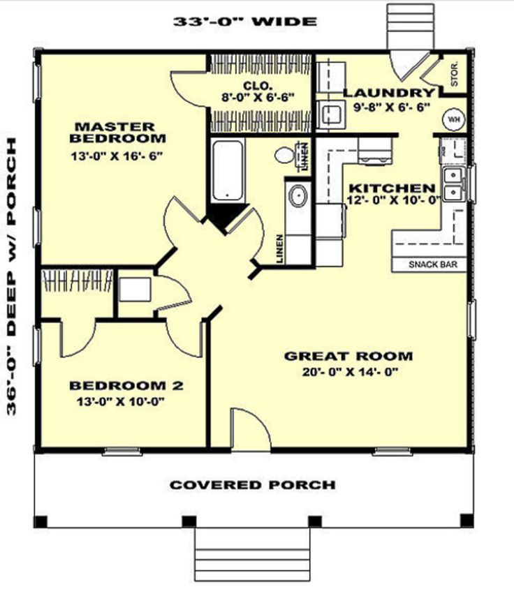 Cabin Style House Plan - 2 Beds 1 Baths 1007 Sq/Ft Plan #44-158 Floor Plan - Main Floor Plan - Houseplans.com