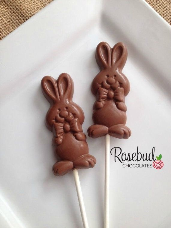 12 Chocolate Easter Bunny Rabbit Lollipop Candy Favors