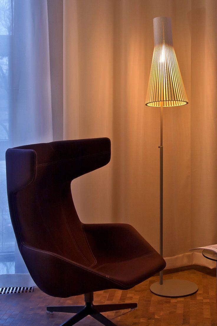 Secto 4210 floor light in the lounge of ZLTO.'s-Hertogenbosch, the Netherlands. Photo by: Ellen Swaan. www.sectodesign.fi