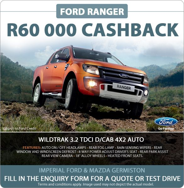 """Get R60 000 cash back when you buy a new Ford Ranger Wildtrak 3.2 TDCI Double Cab 4x2 Auto. Features include: Auto on/off headlamps, rain sensing wipers, rear park assist, rear view camera, 18"""" alloy wheels and more."""