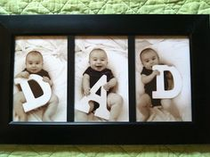 Such a lovely idea and so easy to do. Just cut out the large letters and put the pictures in a nice photo frame. Perfect for fathers day!