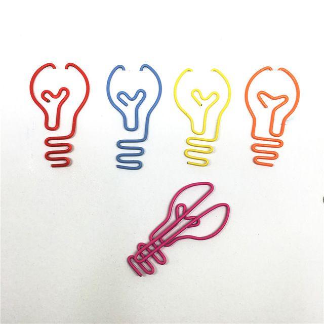 12 unids/lote bulbo Forma Clips de Papel Creativo Interesante Marcador Memo Clip clip En Forma de Clips de Papel de Oficina de La Escuela Hogar P062