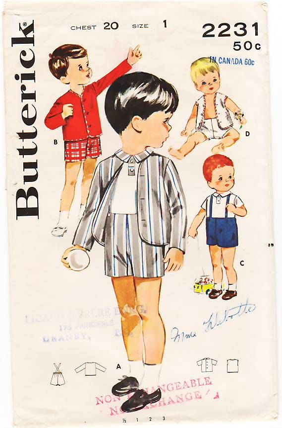 vintage boy clothes plattern