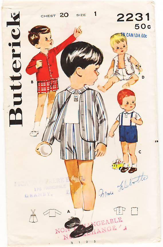 vintage boy clothes plattern