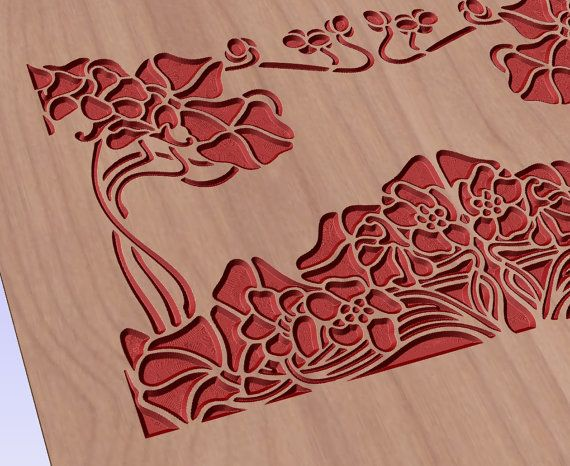 Floral pattern vector file for cnc V-bit carving (digital file).  This file can be applied to any program CNC like Artcam and Vectric Aspire.  #digital2cre8 #vcarve #cncrouter #cncfile #epsfile #vectorimage #woodcarving #digitalsupplies #homedecor #floral