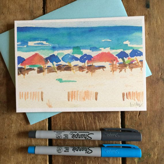 Beach Watercolor Notecard Stationery Beach Umbrellas Gulf