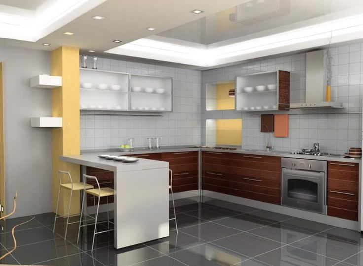 Modern Kitchen Remodel Ideas With Blurred Glass Wall Cabinet And U Shaped Base Cabinet