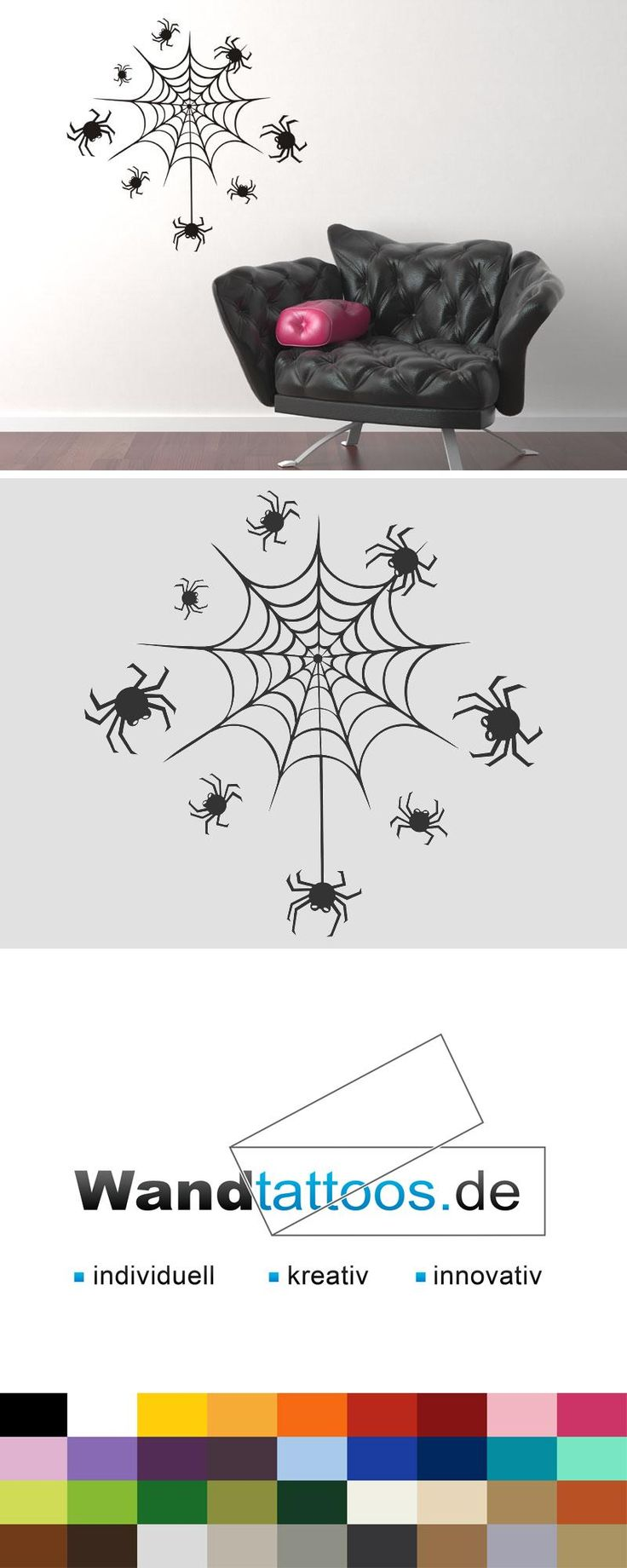 Wandtattoo Spinnennetz Halloween