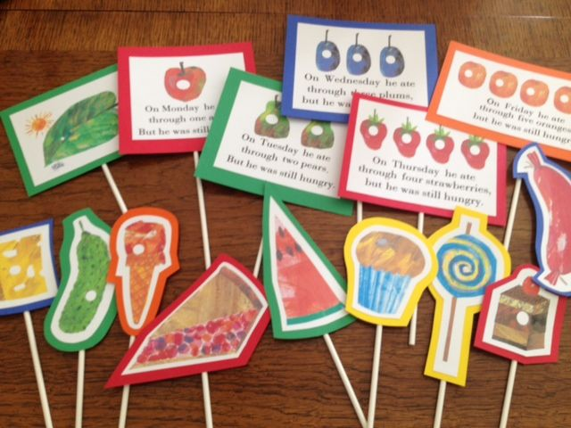 Printables from the Very Hungry Caterpillar book for story telling props