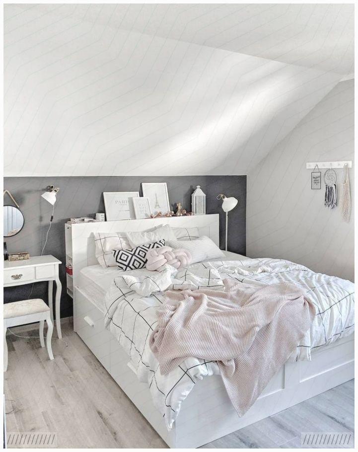 Scandi Schlafzimmer Brimnes Bett Ikea Dunkle Wand