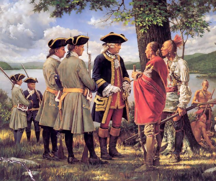 French officers with their Indian allies, Seven Years War