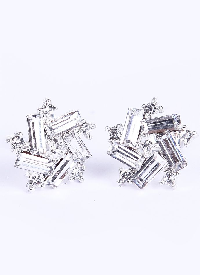 http://rubies.work/0115-ruby-rings/ Silver Rectangle Diamond Stud Earrings - Sheinside.com