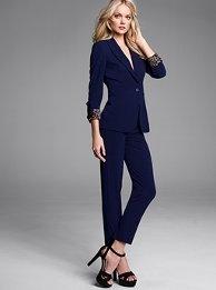 Midrise, straight leg, slim fit pant. Flattering, no bulk and covers those 'love handles'
