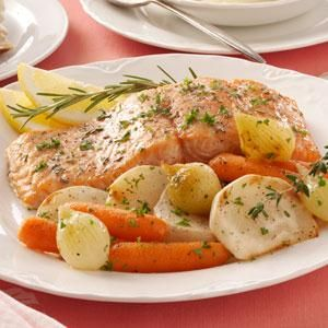 Garlic-Butter Baked Salmon Recipe from Taste of Home -- shared by Deborah Oedekoven of Spearfish, South Dakota