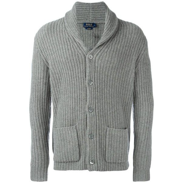 Polo Ralph Lauren front pockets ribbed detail cardigan ($526) ❤ liked on Polyvore featuring men's fashion, men's clothing, men's sweaters, grey, mens cashmere sweaters, mens cardigan sweaters, mens gray sweater, mens grey sweater and polo ralph lauren mens sweater