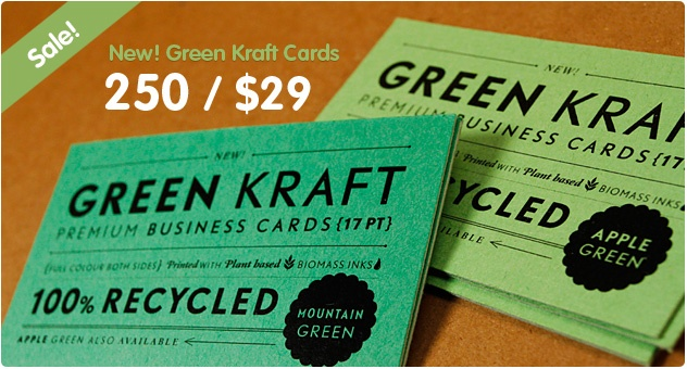 Brown Kraft and 100% Recycled Business Cards from Jukeboxprint.com - Available in 18pt, 22pt & 26pt
