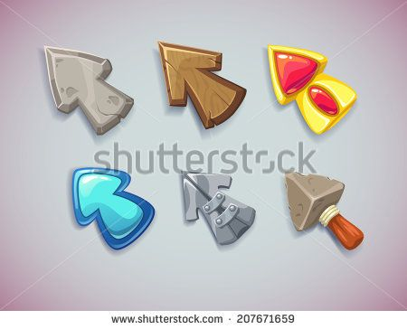 Cartoon vector arrows/cursors, different materials and shapes. Elements for game user interfaces.