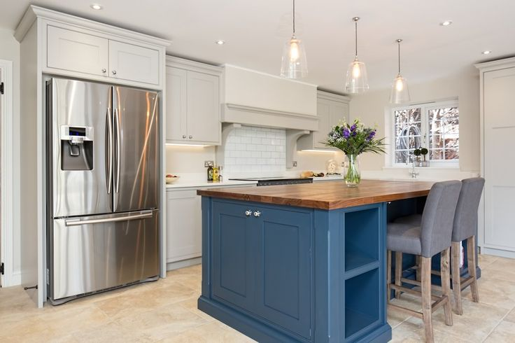 Blue & Grey Kitchen - Bespoke handmade wood kitchens by Maple and Gray