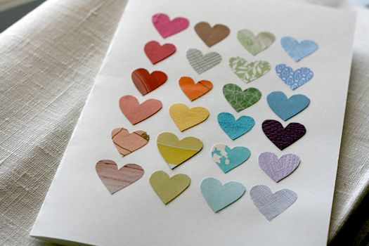 Easy to make DIY Love card. Punched out a bunch of little