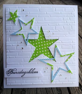 handmade card ... Unni`s Korta ... die cut stars on white brick-textured background ... luv the variety of die cutting ...