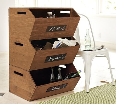 """Stackable Recycle Storage Bins  Solid Fir 23"""" W x 12.5"""" D x 19"""" H"""